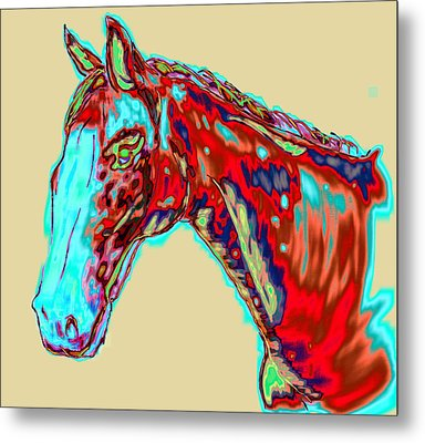 Colorful Race Horse Metal Print by Mark Moore