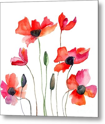 Colorful Red Flowers Metal Print
