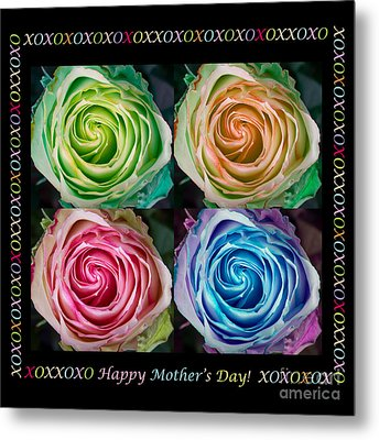 Colorful Rose Spirals Happy Mothers Day Hugs And Kissed Metal Print by James BO  Insogna