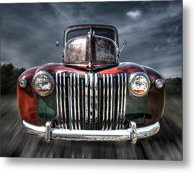 Colorful Rusty Ford Head On Metal Print