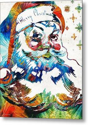 Colorful Santa Art By Sharon Cummings Metal Print