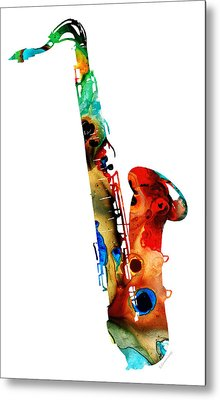Colorful Saxophone By Sharon Cummings Metal Print by Sharon Cummings