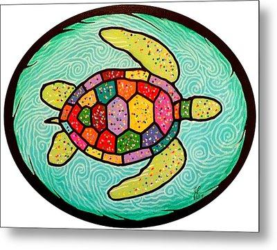 Colorful Sea Turtle Metal Print