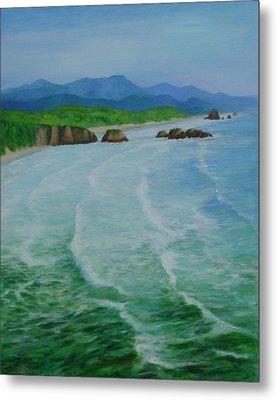 Colorful Seascape Oregon Cannon Beach Ecola Landscape Art Painting Metal Print