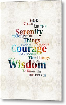 Colorful Serenity Prayer By Sharon Cummings Metal Print