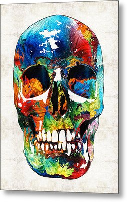 Colorful Skull Art - Aye Candy - By Sharon Cummings Metal Print by Sharon Cummings