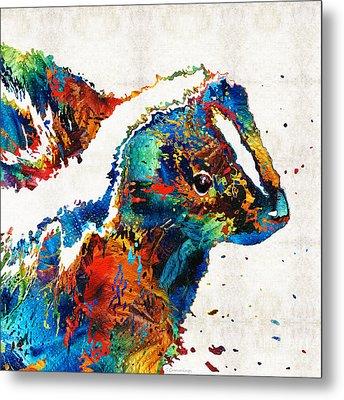 Colorful Skunk Art - Dee Stinktive - By Sharon Cummings Metal Print by Sharon Cummings