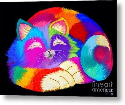 Colorful Sleeping Rainbow Cat Metal Print by Nick Gustafson