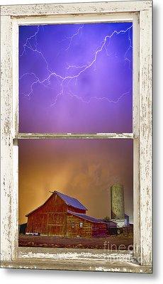 Colorful Storm Farm House Window View Metal Print