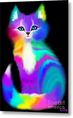 Colorful Striped Rainbow Cat Metal Print
