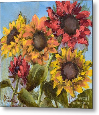 Colorful Sunflowers Metal Print by Vic  Mastis