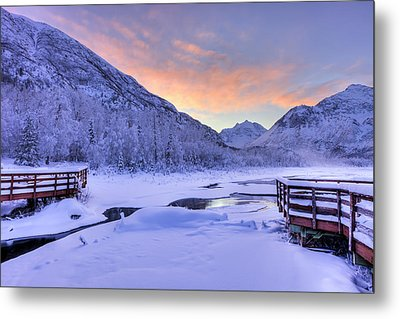 Colorful Sunrise Over A Stream Metal Print by Lucas Payne