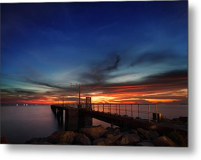 Metal Print featuring the photograph Colorful Sunset At Hong Kong Airport by Afrison Ma