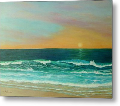 Colorful Sunset Beach Paintings Metal Print by Amber Palomares