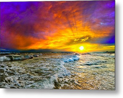 Metal Print featuring the photograph Colorful Sunset In Destin Beach Florida With Red Clouds by eSzra