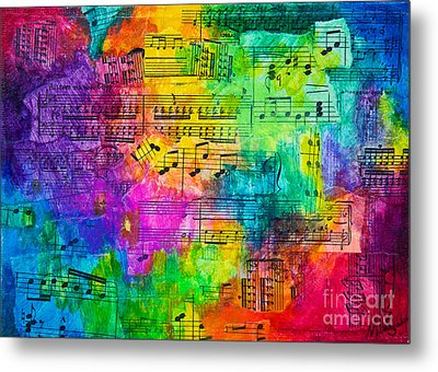 Metal Print featuring the mixed media Colorful Symphony by Melissa Sherbon
