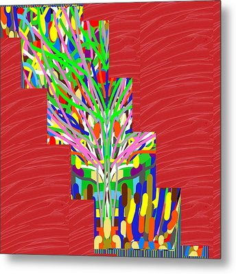 Metal Print featuring the photograph Colorful Tree Of Life Abstract Red Sparkle Base by Navin Joshi