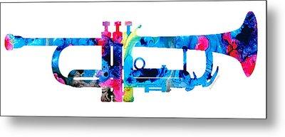 Colorful Trumpet 2 Art By Sharon Cummings Metal Print by Sharon Cummings