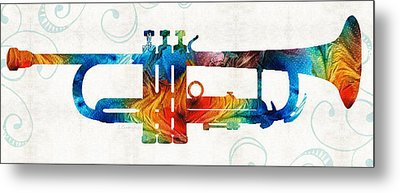 Colorful Trumpet Art Color Fusion By Sharon Cummings Metal Print by Sharon Cummings