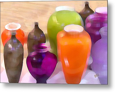 Colorful Vases I - Still Life Metal Print by Ben and Raisa Gertsberg