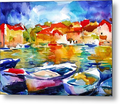 Colorful Watercolor Boats European Water Scape Metal Print by Svetlana Novikova