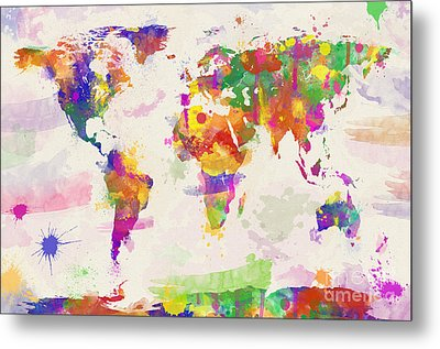 Colorful Watercolor World Map Metal Print by Zaira Dzhaubaeva