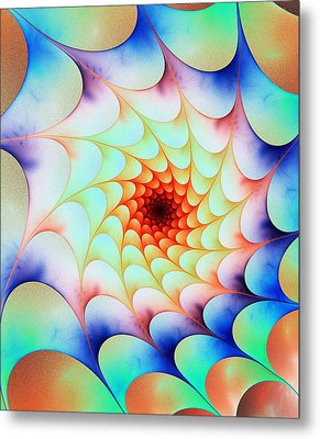 Metal Print featuring the digital art Colorful Web by Anastasiya Malakhova