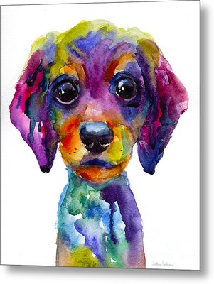Colorful Whimsical Daschund Dog Puppy Art Metal Print