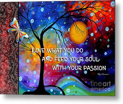 Colorful Whimsical Inspirational Butterfly Landscape Painting By Megan Duncanson Metal Print by Megan Duncanson