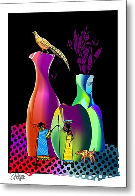 Metal Print featuring the digital art Colorful Whimsical Stll Life by Arline Wagner