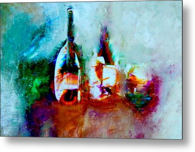 Metal Print featuring the painting Colorful Wine Serenade by Lisa Kaiser