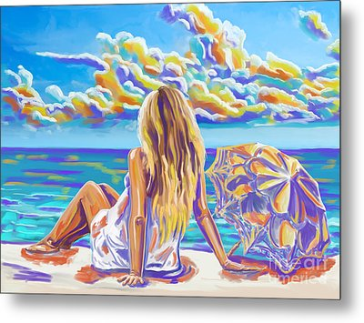 Colorful Woman At The Beach Metal Print by Tim Gilliland