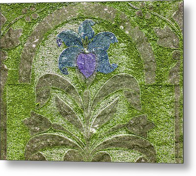 Colorized Moss Covered Gravestone  Metal Print by Jean Noren