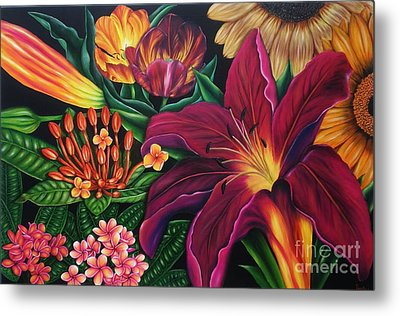 Metal Print featuring the painting Colors Garden by Paula L