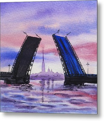 Colors Of Russia Bridges Of Saint Petersburg Metal Print by Irina Sztukowski