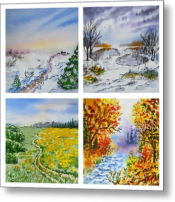 Colors Of Russia Four Seasons Metal Print by Irina Sztukowski