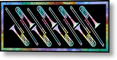 Colorwashed Trombones Metal Print