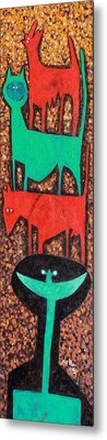 Colos Stacked Animals Turquoise Smile  Metal Print by Mark M  Mellon