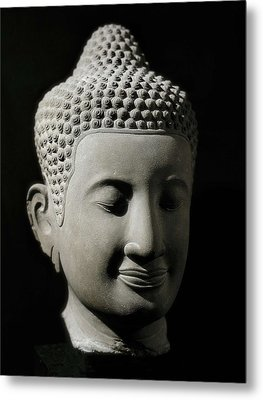 Colossal Buddha Head. 13th-14th C Metal Print