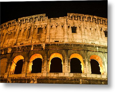 Metal Print featuring the photograph Colosseum At Night by Rob Tullis
