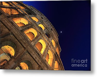 Colosseum At Night Metal Print by Stefano Senise