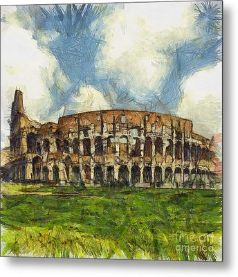 Colosseum Pencil Metal Print by Sophie McAulay