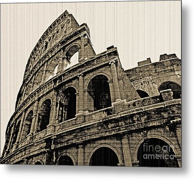 Metal Print featuring the photograph Colosseum Rome - Old Photo Effect by Cheryl Del Toro
