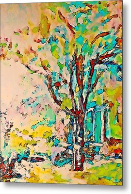 Colourful Cherry Tree Metal Print