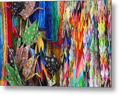 Metal Print featuring the photograph Colourful Cranes by Cassandra Buckley