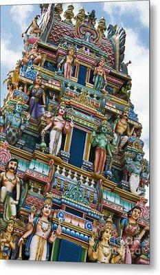 Colourful Hindu Temple Gopuram Statues Metal Print by Tim Gainey