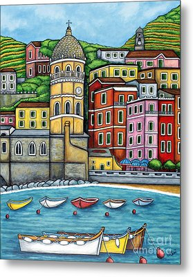 Colours Of Vernazza Metal Print by Lisa  Lorenz