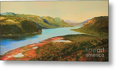 Metal Print featuring the painting Columbia River Gorge by Jeanette French
