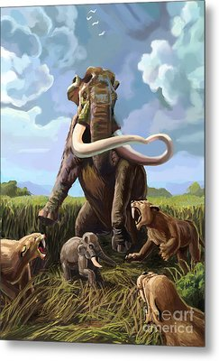 Columbian Mammoth And Saber-toothed Cats Metal Print by Spencer Sutton