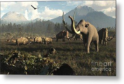 Columbian Mammoths And Bison Roam Metal Print by Arthur Dorety